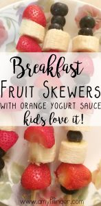Looking for easy, fun and HEALTHY kids breakfast ideas? These fruit skewers with orange yogurt sauce are PERFECT for a healthy breakfast or after school snack.