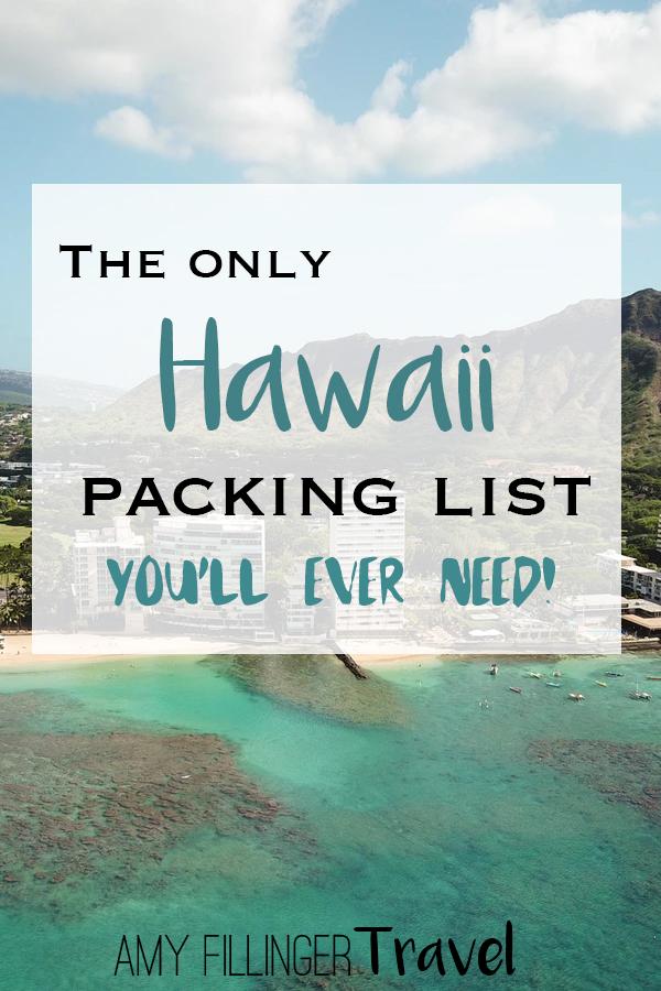 This Hawaii packing list is awesome! I was wondering what to pack for Hawaii, and I found it all here. #hawaii #mauihawaii #kauai #oahu #hawaiitravel #hawaiivacation #hawaiiwedding #lethawaiihappen #hawaiiadventure #hawaiitravelagent