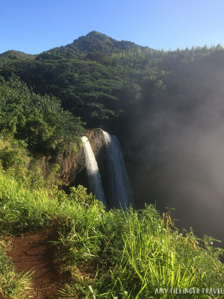 the popular and easy to access Wailua Falls is one of the best things to do in Kauai.